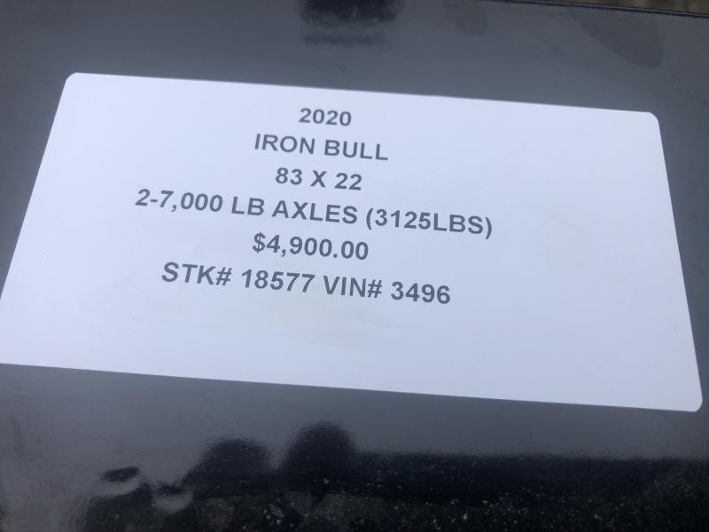 2020 IRON BULL 83X22 EQUIPMENT HAULER TRAILER W/ 3' DOVE TAIL