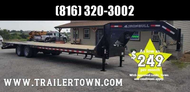 2020 IRON BULL 102x30 GOOSENECK DECK OVER LOPRO EQUIPMENT HAULER TRAILER