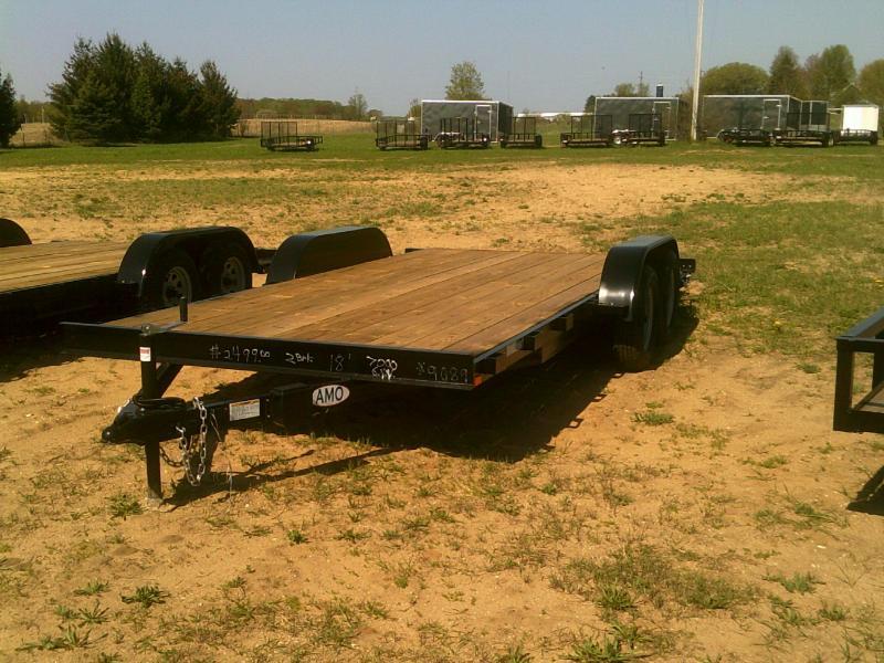 New 82x18 Wood Deck Car Hauler W/Both Axle Brakes