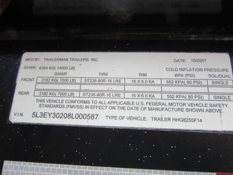 2008 T-Series 25+5 14K gvwr Equipment Trailer