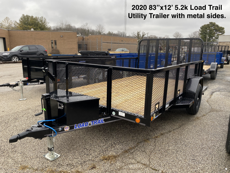 """2020 83""""x12' 5.2K Load Trail Utility Trailer with metal sides. 99145"""