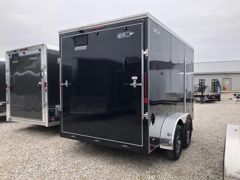2020 7x12+V-Nose 7K Legned Cyclone Enclosed Trailer. 17621