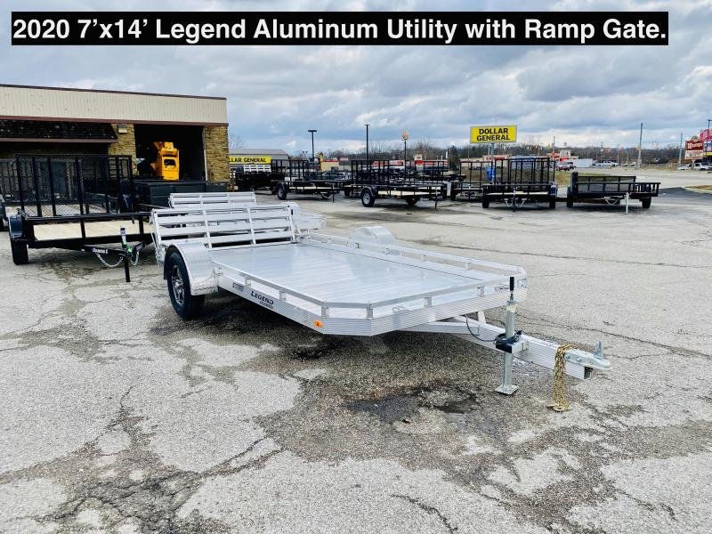 2020 7'x14' Legend Aluminum Utility with ramp gate. 17894