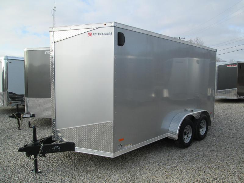 2020 7'x14' 7k RC Enclosed Flat Top Wedge Trailer with ramp door. 56787