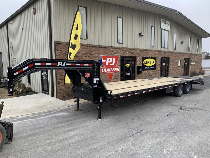2020 PJ Trailers 30' Low-Pro Flatdeck with Duals Gooseneck Trailer