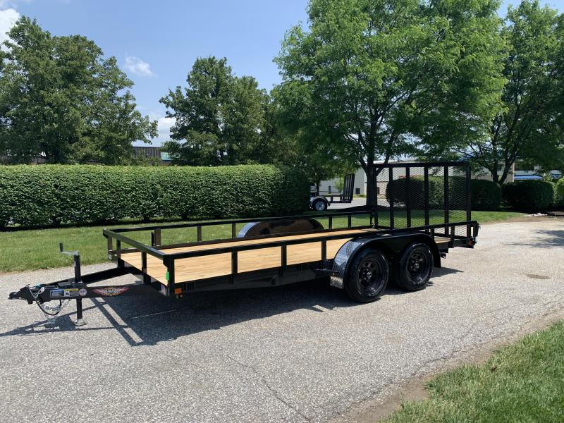 "2019 H and H Trailer 82"" x 16' Steel Railside Tandem Utility Trailer"