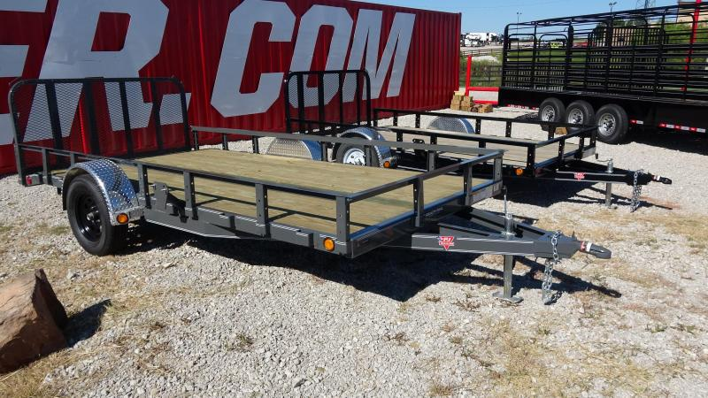 "2020 PJ 14'x83"" Utility Trailer 3500lb Single Axle Dovetrail with Fold-up Gate Black Wheels and Gray Powder Coat"