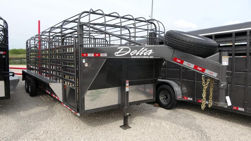 2019 Delta Manufacturing 2019 24 Delta 600 Cattleman Open/Bar Top Goosene Livestock Trailer