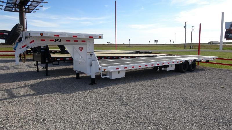 2020 PJ 36' Gooseneck Low-Pro 12K Duals Hydraulic Dove and Jacks with Removable Deck on the Neck Blackwood Pro Full Deck