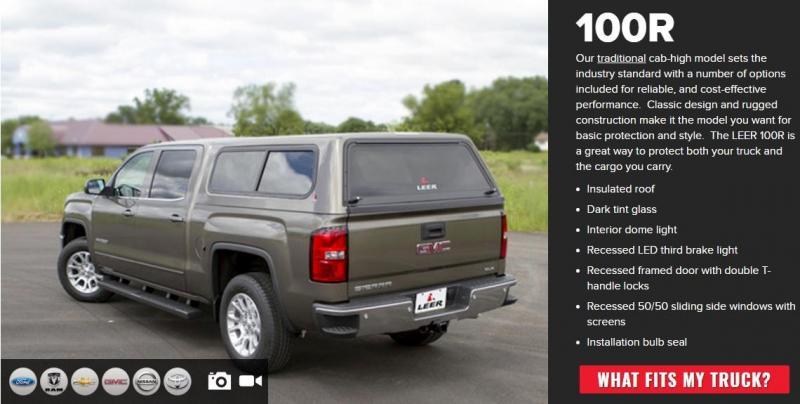 2019 Leer Truck Topper 100R Series