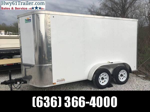 2020 ARISING 6X12 TA V-nose ramp 3500 lb axles side alum vents WHITE