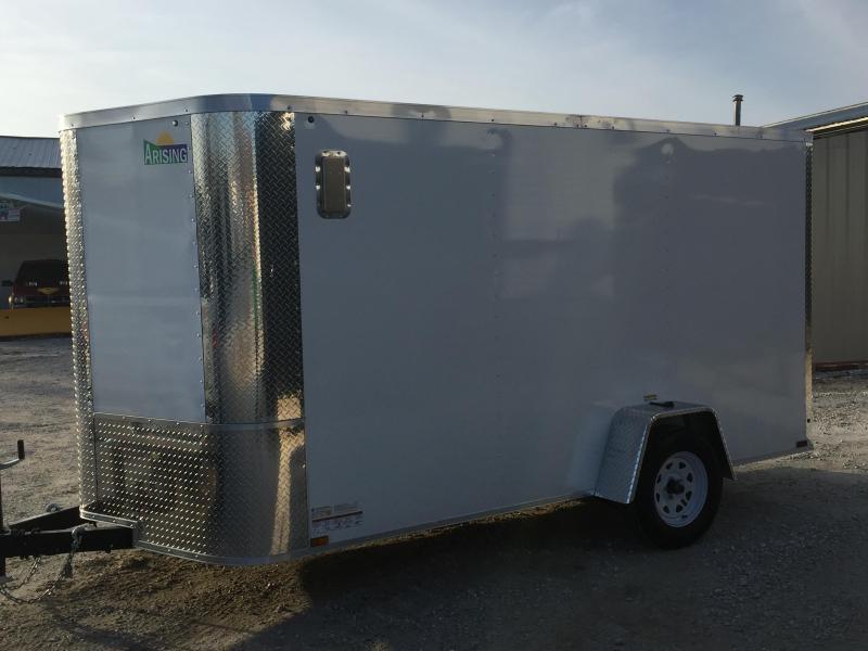 2020 ARISING 7X12 SA V-nose ramp 35000 lb axles Side Alum Vent WHITE