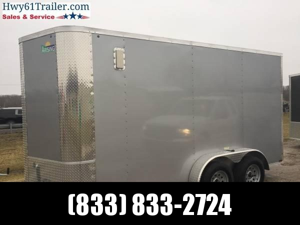 "2020 Arising 7x16 TA V-nose RAMP SIDE VENTS 7'6"" SILVER WHOLES Enclosed Cargo Trailer"