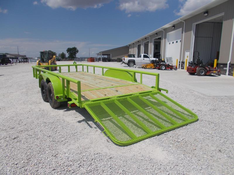 "SAFETY GREEN!! Load Trail 83""X16' Landscape Utility Trailer"