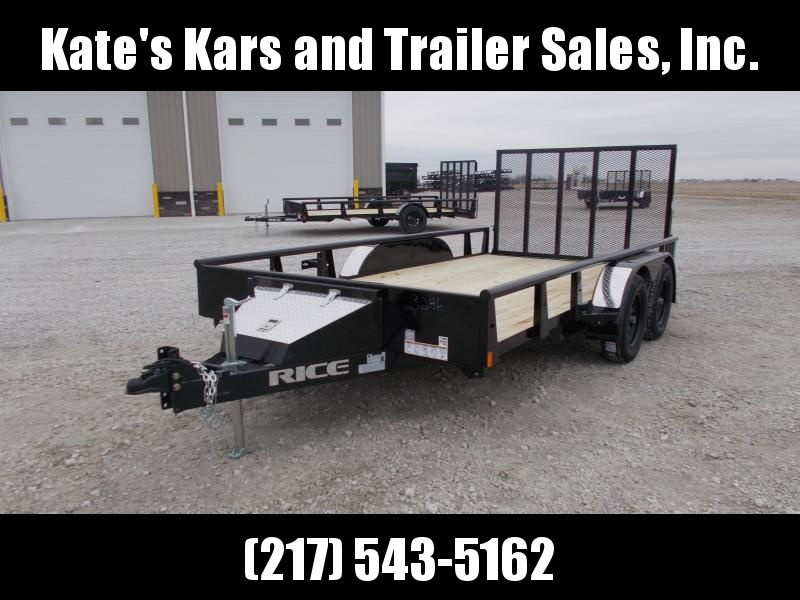 2020 Rice 82X14 Tandem Axle w Brakes&Toolbox ATV Utility Trailer