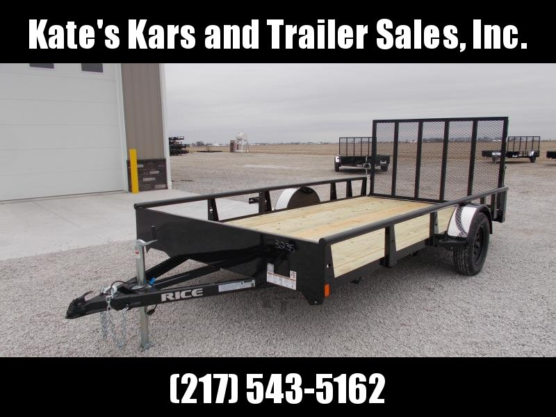 *N E W** Rice 82X14 Single Axle w/ Assisted Gate Utility Trailer