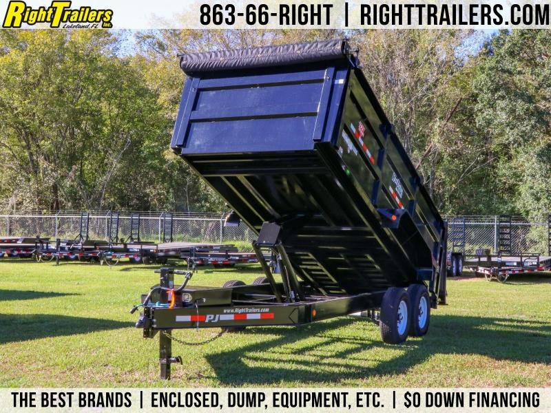 7x16x4 PJ Trailers | LOW PRO HIGH SIDE DUMP BLACK with 4' HIGH SIDES Dump Trailer