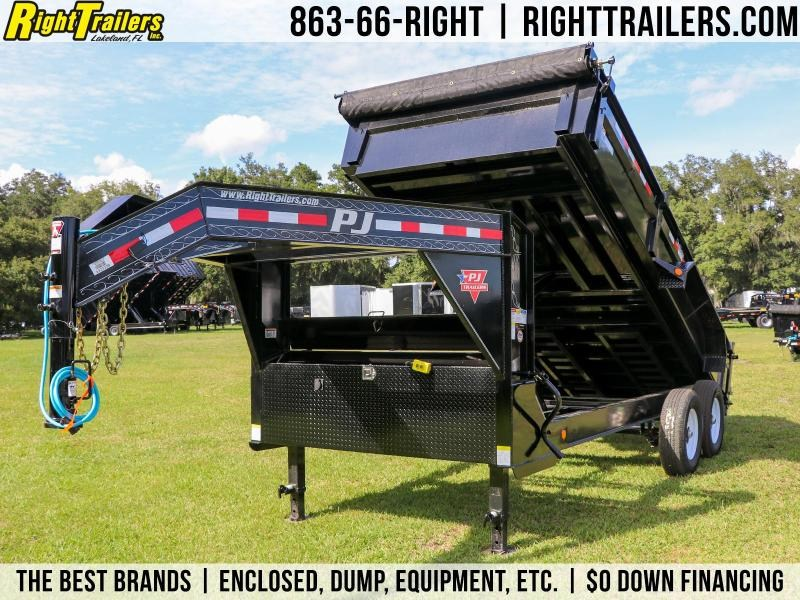 7x16x2 PJ Trailers | Gooseneck Dump Trailer With 10Ga. Steel Bed