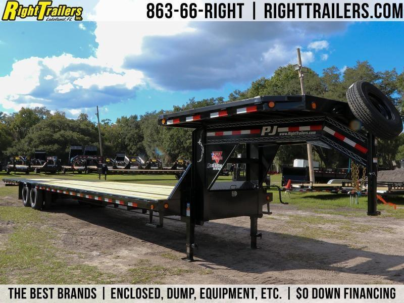 8.5X40 PJ Trailers Low-Pro with Hydraulic Dove (LY) Flatbed Trailer
