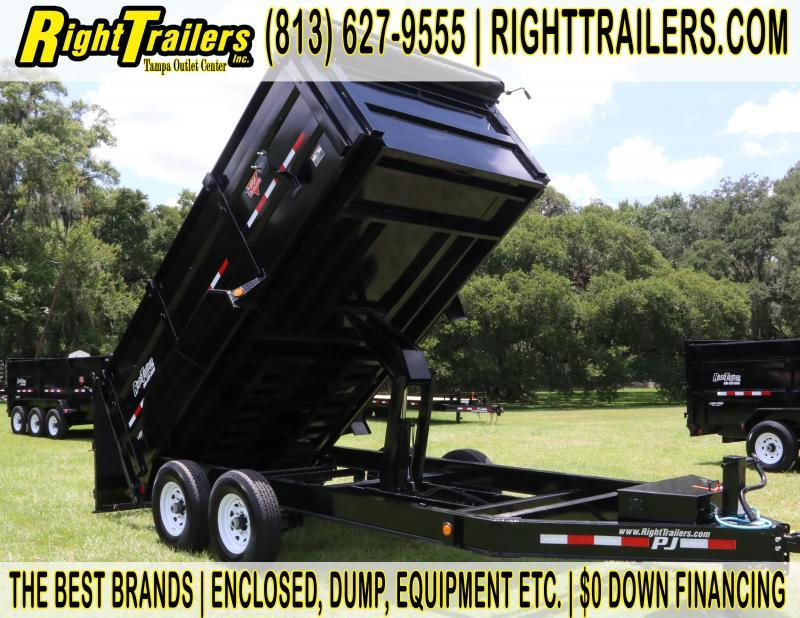 7x14x4 PJ Trailer | DM Low Pro High Side 7 Ton Dump Trailer