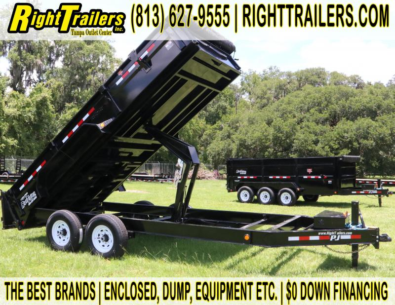 7x16 PJ Trailers | Low Pro 14K GVWR I 7K Dexter Axle I Dump Trailer with Tarp and Slide in Ramp