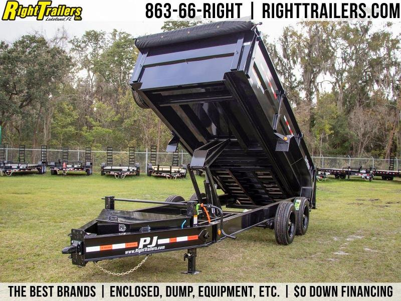 7x16x3 PJ Trailers | DE Dump Trailer ( 7 Ga. Steel Deck )