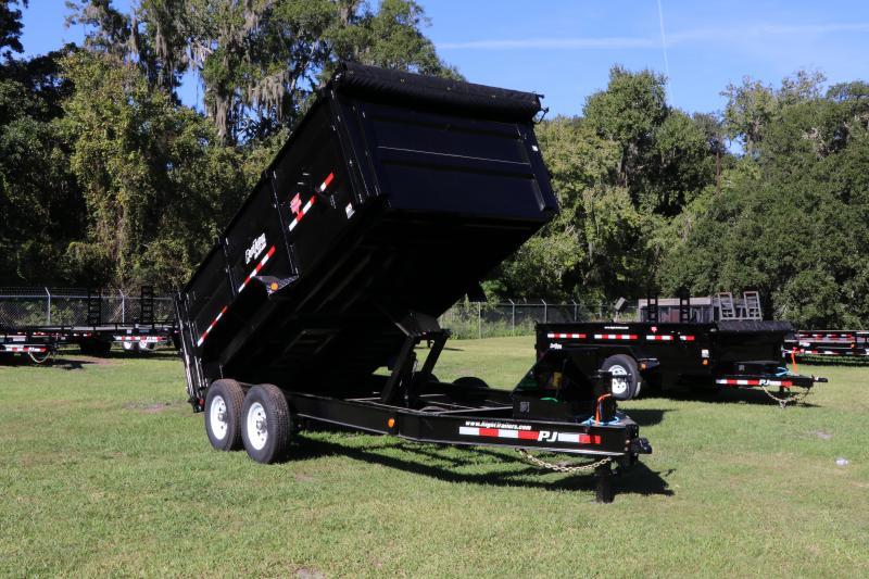 7x14x4 PJ Trailers | LOW PRO Tandem AXLE DUMP BLACK with 4' HIGH SIDES Dump Trailer