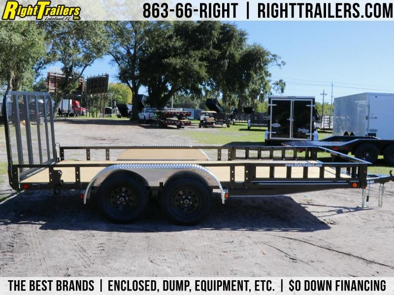7X16 PJ Trailers 83 in. Tandem Axle Channel I Utility Trailer