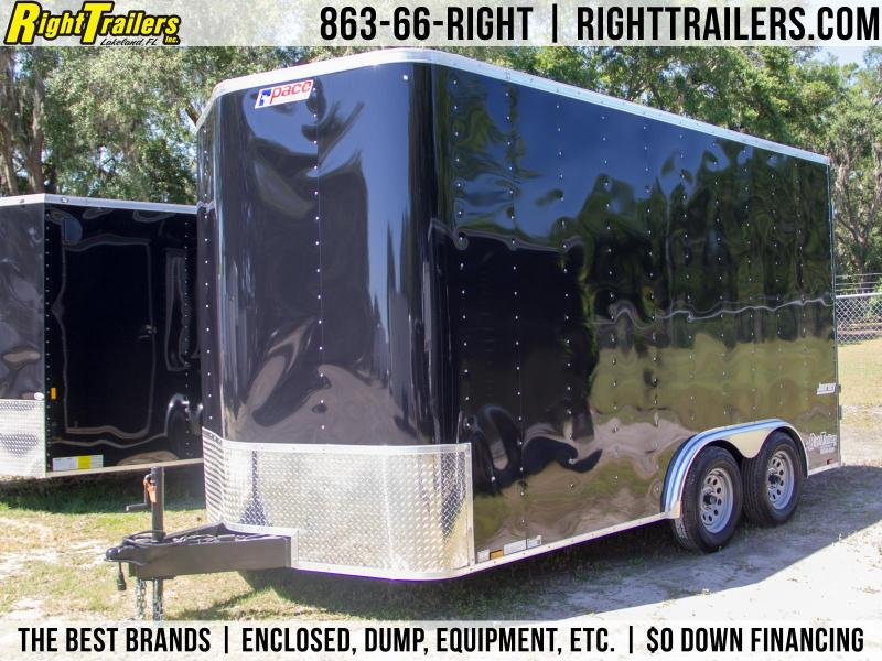 7x14 Pace American   Enclosed Trailer [Black]