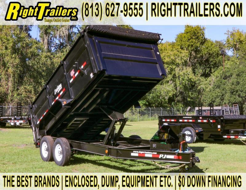 7x14x4 PJ Trailers   LOW PRO Tandem AXLE DUMP BLACK with 4' HIGH SIDES Dump Trailer