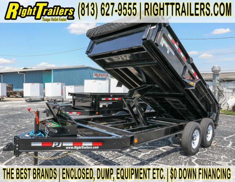 7x14 PJ | Solar Charger with Tarp and Slide in Ramps | Dump Trailer