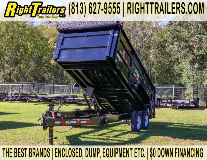 7x16x4 PJ Trailers | LOW PRO HIGH SIDE DUMP BLACK with 4' HIGH SIDES Dump Trailer