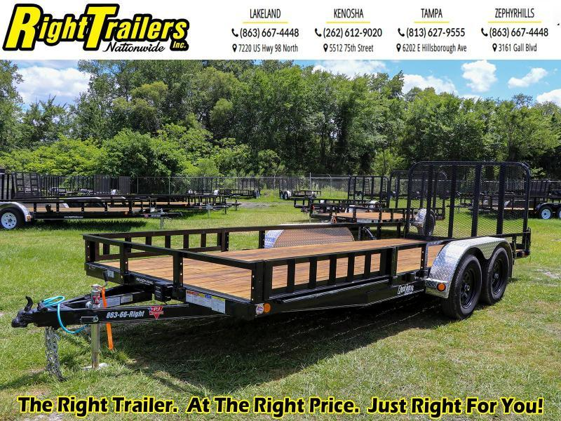 7x18 PJ Trailers 83 in. Tandem Axle Channel Utility (UL) Utility Trailer