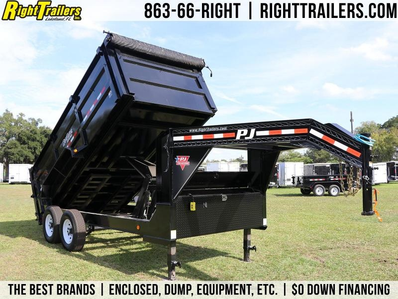 7X14X4 PJ Trailers I Gooseneck Dump Trailer With 4' High Sides