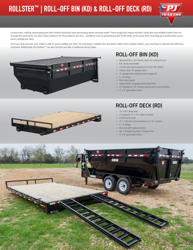 2020 Pj Trailers 8'roll Off Deck