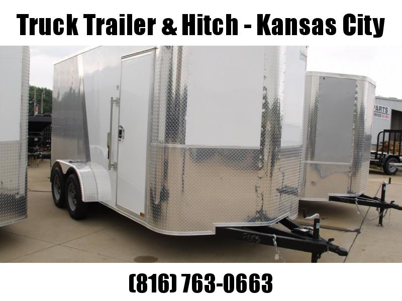 Enclosed Trailer 7 X 14 Ramp 7' Interior Height Color White Front/Silver Mist Rear Rear ALL Tube Construction