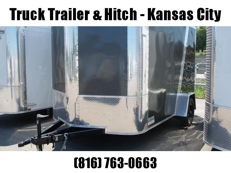 """Enclosed Trailer 7 X 10 Ramp Two Tone Charcoal/FrontAll Tube Construction 6' 6"""" Interior"""