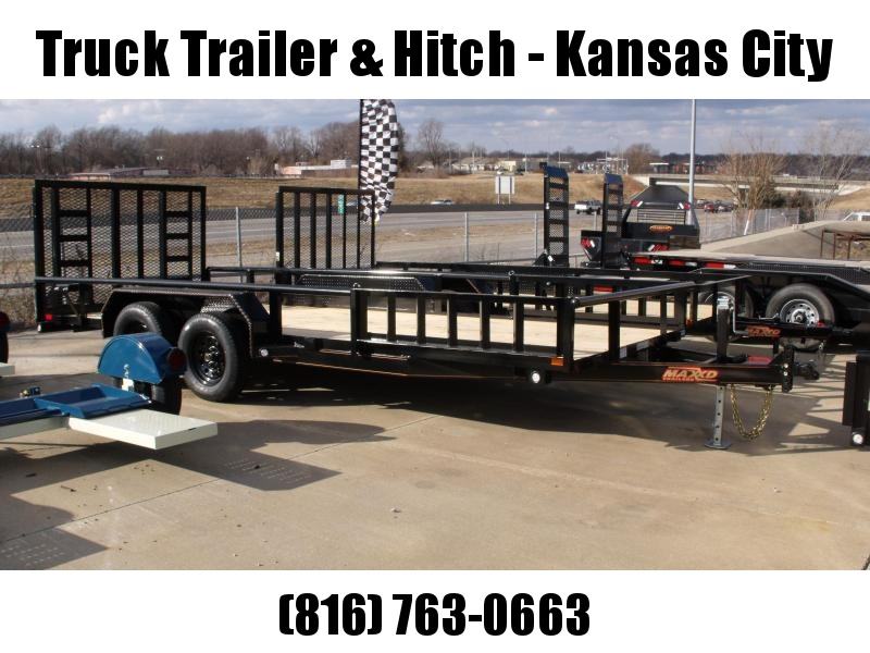 83 X 18 ATV/Landscape  Rear Load Side Load Trailer Pipe Rail Top   7000 GVW FRONT AND REAR FOLDING GATE(Very Low Wind Resistance)