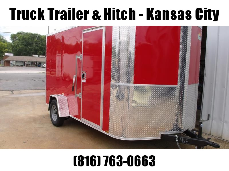 "Enclosed Trailer 7 X 12 RAMP  DOOR 2990 GVW 6' 6"" Height RED  In Color"