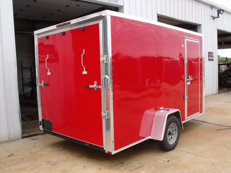 """Enclosed Trailer 7 X 12 RAMP  DOOR 2990 GVW 6' 6"""" Height RED  In Color"""