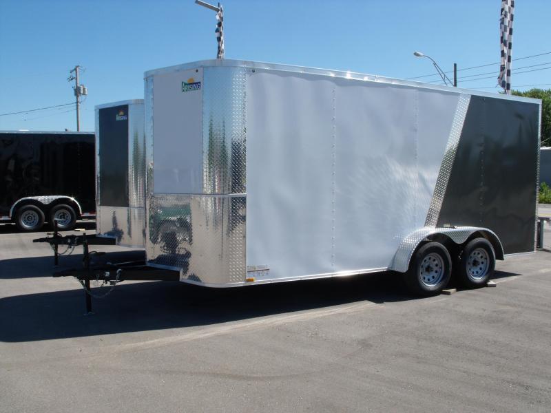 Enclosed Trailer 7 X 16 Ramp 7' Interior Height  White/ Medium Charcoal In Color ALL Tube Construction