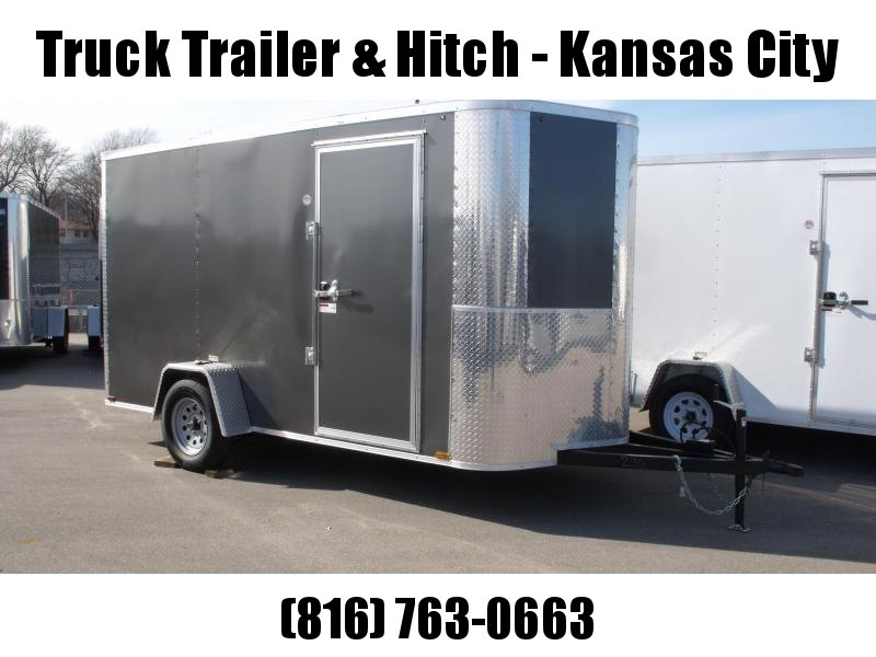 "Enclosed Trailer 6 X 12 Ramp All Tube Construction Charcoal   In Color 6' 6"" Interior Height"