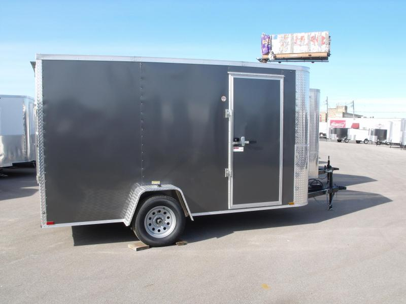 """Enclosed Trailer 6 X 12 Ramp All Tube Construction Charcoal   In Color 6' 6"""" Interior Height"""