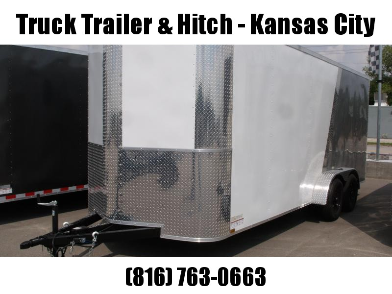 Enclosed Trailer 7 X 18 Ramp 7' Interior Height  Color White/Silver Mist ALL Tube Construction