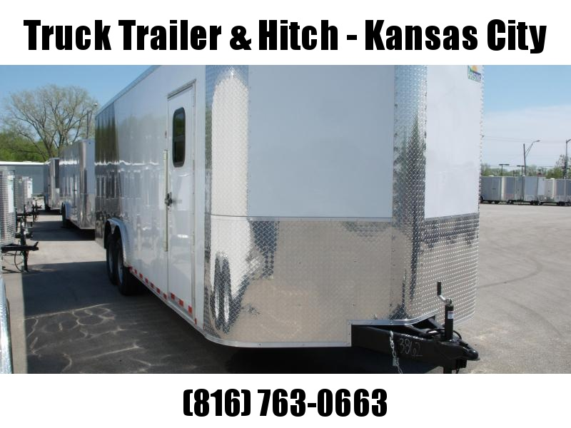 Enclosed Trailer 8.5 X 22 Ramp 14000 GVW 7' Height Razor Trailer Two Tone White Front/Charcoal Rear  ALL TUBE Construction