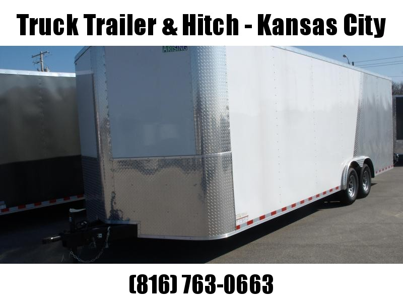 Enclosed Trailer Razor Trailer   8.5 X 24 V Nose 7' Tall Dove Tail Color Frt White/ Rear Silver Mist   9990 GVW  Dove Tail