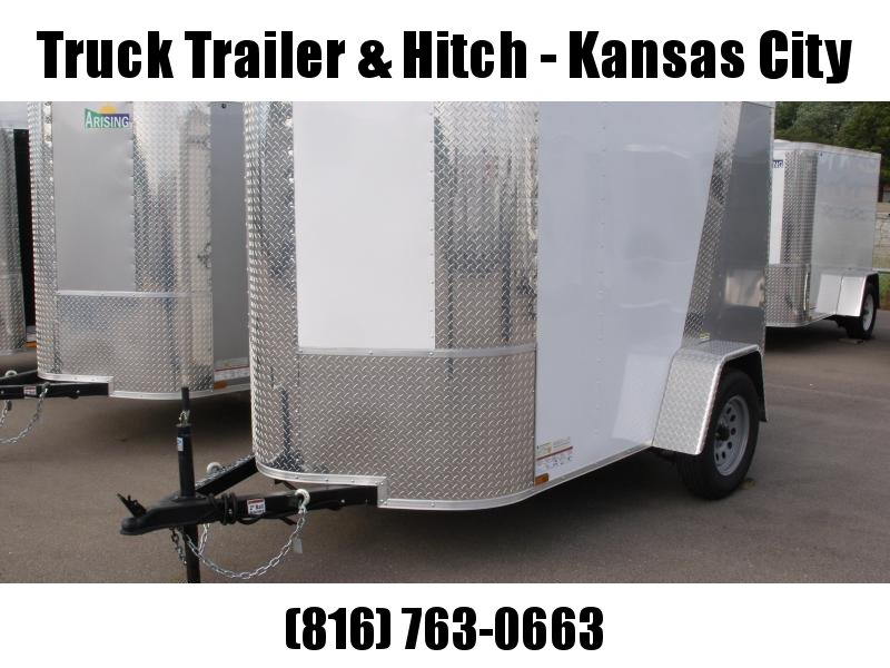 "Enclosed Trailer  5 X 8 Ramp 5'6"" Height  ALL Tube Construction  Two Tone White Front/Silver Mist Rear   In Color"