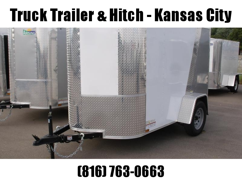 """Enclosed Trailer  5 X 8 Ramp 5'6"""" Height  ALL Tube Construction  Two Tone White Front/Silver Mist Rear   In Color"""