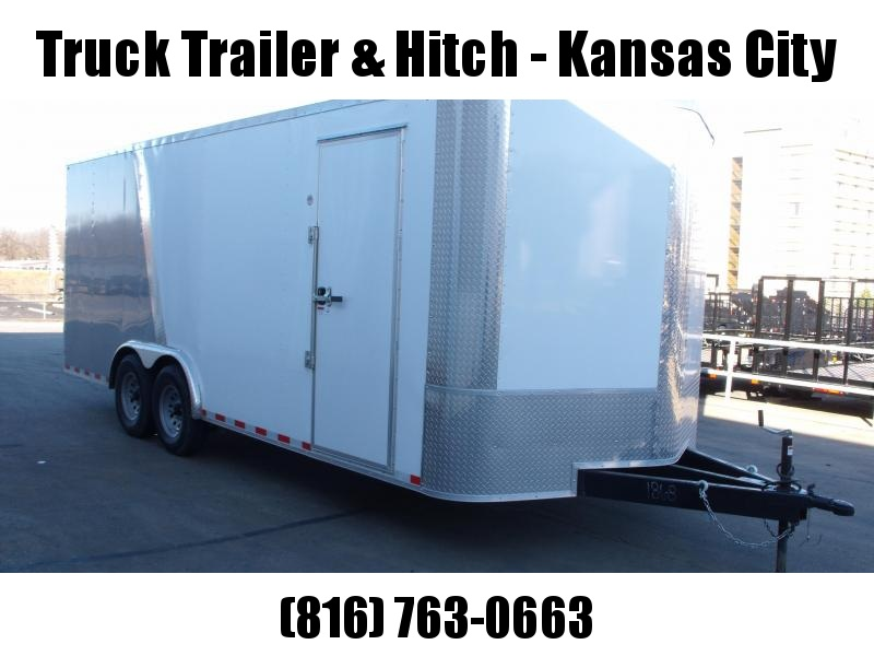 Enclosed Trailer 8.5 X 20 Dove Tail With HD Ramp   7'  Interior 9990 GVW ALL TUBE Construction Two Tone IN Color White Front/Silver Mist Rear   4 Wheel Brakes