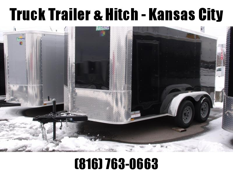 "Enclosed Trailer 7 X 14  Ramp  Black  In Color 7000 GVW 6' 3"" Height"